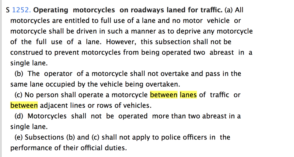 The NYS Motorcycle on roadways law text explaining why it is illegal to ride on the white line