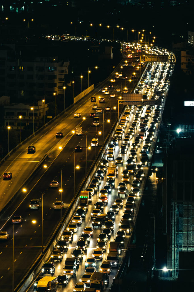 Thanksgiving Traffic Jam.  Image of cars in stand still traffic on the highway