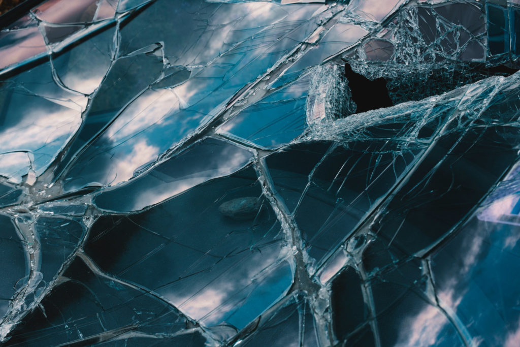Picture of a shattered windshield