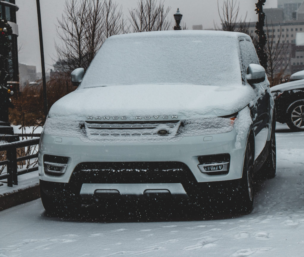 Range Rover covered in Ice and Snow